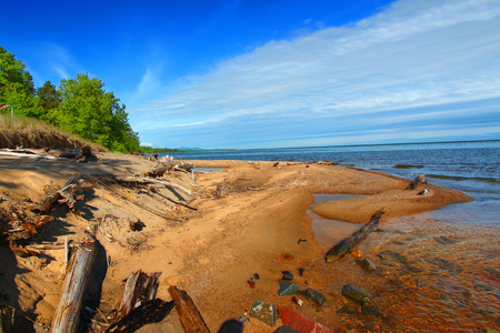 hydrology: Cranberry River flows into Lake Superior in the upper peninsula of Michigan Stock Photo