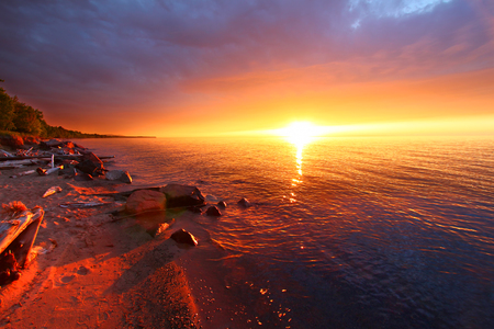 Beaches of Lake Superior in northern Michigan are a spectacular summer vacation destination Stock Photo