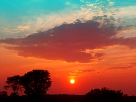 Colorful sunset over the countryside of southern Wisconsin