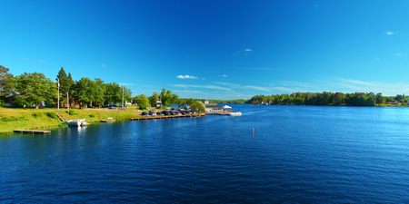 water  panoramic: Lake Minocqua is located in northwoods Wisconsin and is a popular summer vacation destination