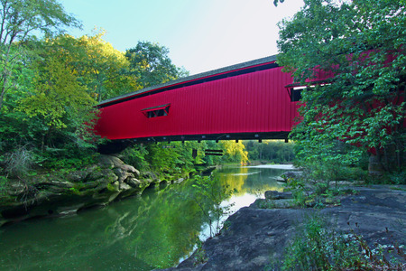Narrows Covered Bridge spans Sugar Creek at Turkey Run State Park in Indiana