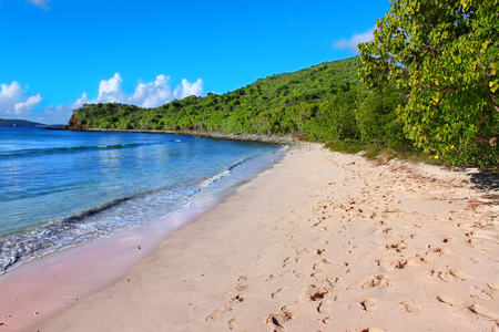 sandy beaches on the Caribbean island of Tortola are a popular vacation destination Stock Photo