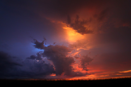 Summer thunderstorms create beautiful sunset scenery in the Midwestern United States