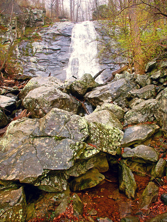 Lower Whiteoak Falls on a foggy spring day in Shenandoah National Park