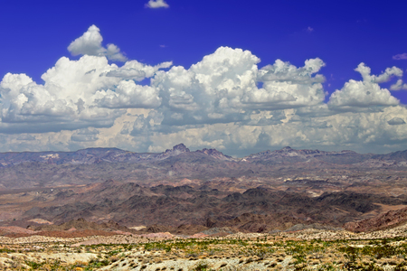 Wide open spaces of the mountainous Nevada desert in the southwestern United States