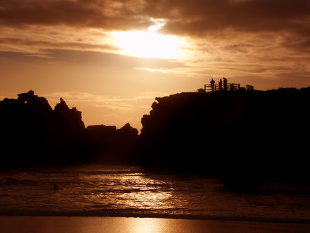 Sunset over the Hopkins River estuary in the town of Warrnambool of Victoria, Australia Stock Photo