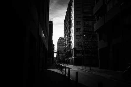 Empty street in Barcelona during coronavirus pandemic. Spain. Europe.