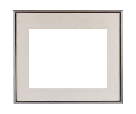 A metal frame with passepartout for painting or picture isolated on a white background