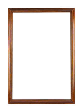 A rectangular wooden frame for painting or picture isolated on a white background