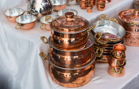 The clean and shiny copper pots
