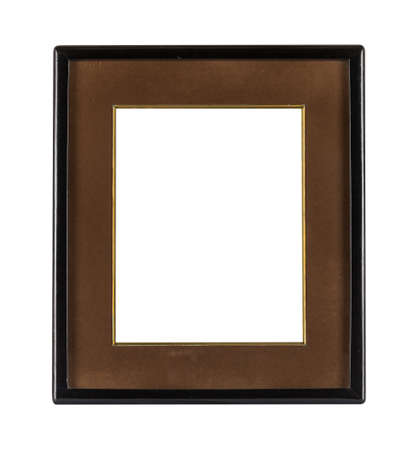 A black frame with a brown passepartout for painting or picture isolated on a white background