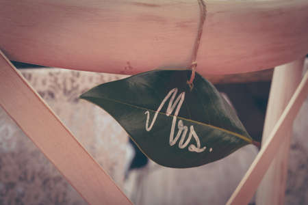 A closeup shot of a green leaf on a string with the word Mrs written on it in white Archivio Fotografico