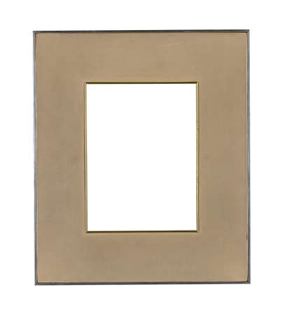 A metal frame with a brown passepartout for painting or picture isolated on a white background