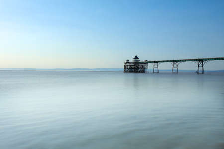 A view of the Clevedon Pier in the town of Clevedon, Somerset, England on the east shore of the Severn Estuary