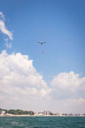 A vertical shot of airplane on airshow Stok Fotoğraf