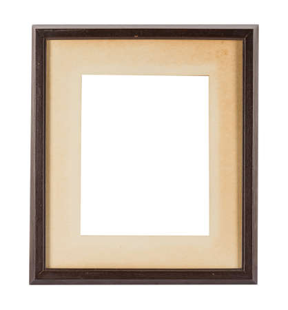 A wooden frame with a beige passepartout for painting or picture isolated on a white background