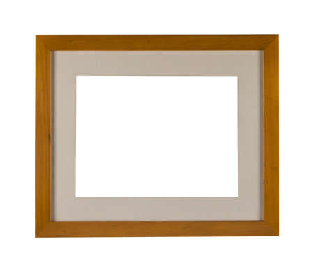 A wooden frame with a passepartout for painting or picture isolated on a white background