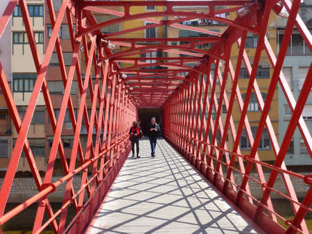 GIRONA, SPAIN - Feb 02, 2020: Eiffel Bridge in Girona, city of Catalonia.Architecture in Spain Publikacyjne