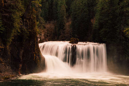 A beautiful wide waterfall in the forest