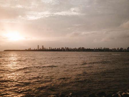 Beautiful river and Manhattan on the horizon during sunrise