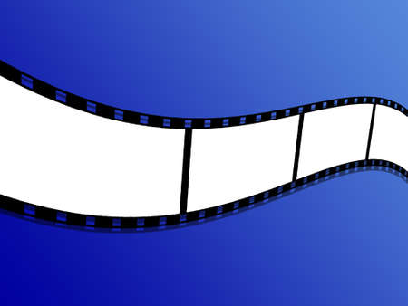 An illustration of blank film strip flying background Фото со стока