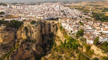 An aerial shot of Ronda city in Spain
