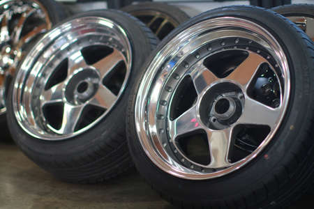 A closeup shot of two car wheels