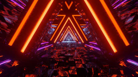 A closeup shot of colorful neon lights forming triangular shapes in perspective - perfect for a futuristic concept