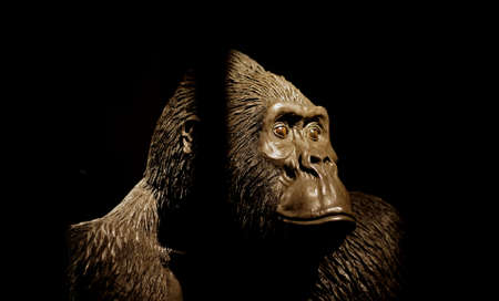A close shot of a gorilla mannequin with a dark background