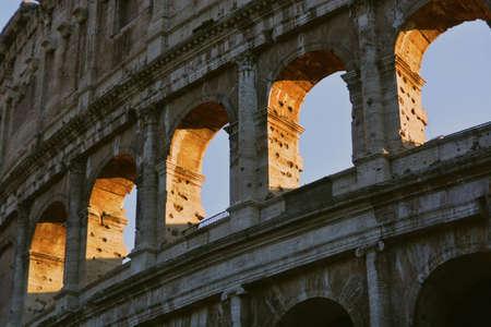 A closeup low angle shot of the roman colosseum architecture