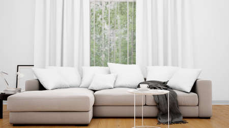 A 3D rendering of a stylish couch with white pillows on a wooden floor in a living room Foto de archivo