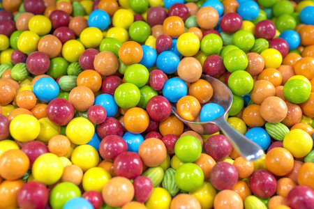 A closeup shot of delicious colorful sweet candy in a pastry shop Foto de archivo