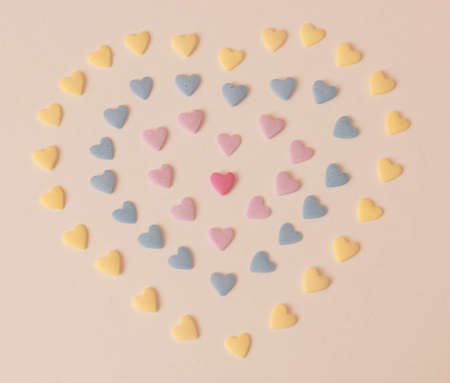 Colorful hearts forming a shape of a heart background - Valentine's Day