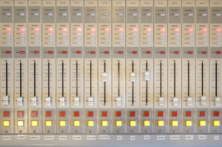 A closeup shot of professional radio station equipment or control panel Banque d'images