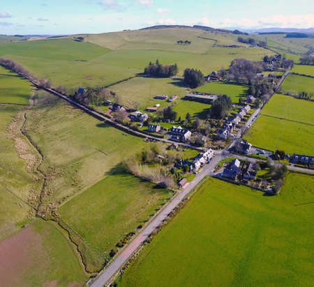 Aerial view of Chesters crossroads in Southdean, Roxburgh, Scottish Borders.