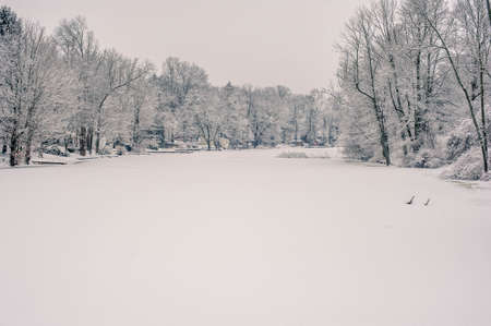 A beautiful shot of the amazing scenery of the snow-covered countryside in Pennsylvania