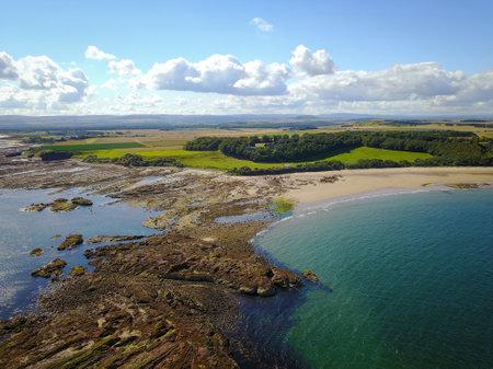 An aerial view of Seacliffs beach, East Lothian, Scotland, UK.