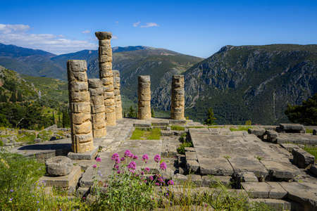 A beautiful shot of the Temple of Apollo In Delphi in Greece