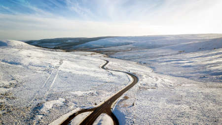 Aerial view looking south at the Carter Bar to Northumberland in winter, on the England–Scotland border, in the Scottish Borders