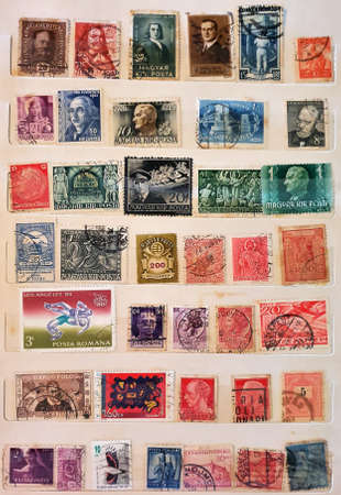 SOVATA, ROMANIA - Jul 02, 2020: many old postage stamps in a philatelic file