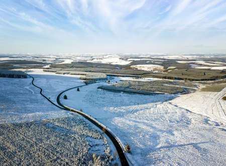 Aerial view over the Carter Br looking North, a point on the England–Scotland border, in the Scottish Borders and Northumberland.