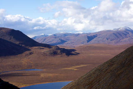 A beautiful shot of scenery of hills in the  Gates of the Arctic National Park