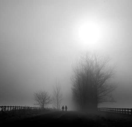 A shot of two people walking in a dangerous foggy field during sunrise