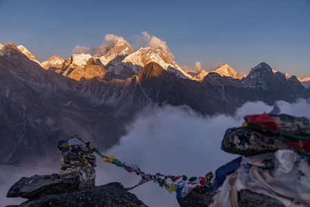 panoramic shot of colorful Tibetan prayer flags on a mountain. Great for depicting Tibetan culture.