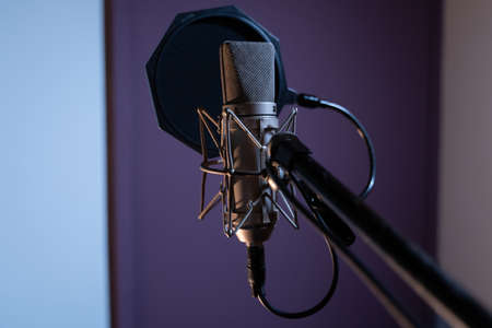 A closeup shot of a condenser microphone with a pop filter and a blurred background