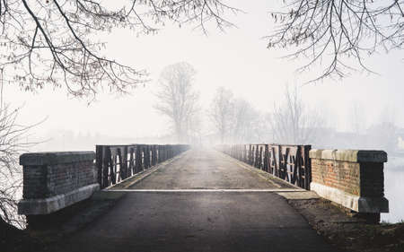 A horizontal creepy shot of a bridge leading to a foggy forest with houses. Perfect for mystery scenarios. Reklamní fotografie