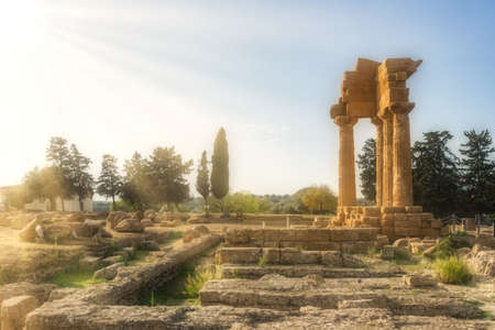 A wide shot of isolated ruins of a building surrounded by green trees and the beautiful rays of the sun