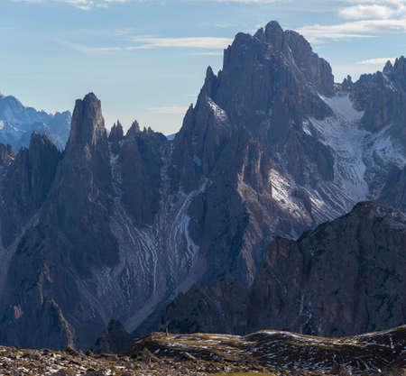 The Mountain Cadini di Misurina in Italian Alps in the early morning Фото со стока