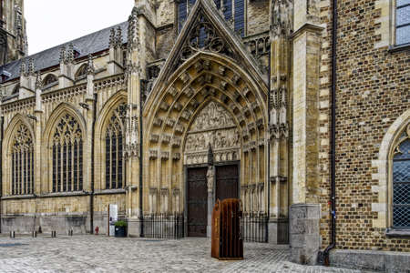 A beautiful outdoor shot of the Old Cathedral or Basilica of Our Lady in Tongeren, Belgium