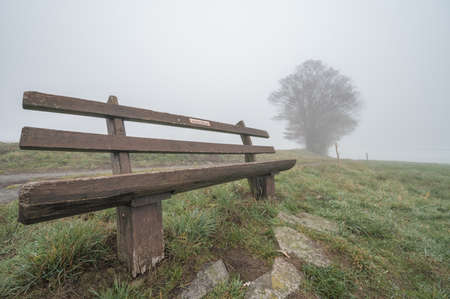 A beautiful view of a wooden bench on a foggy hill covered with grass